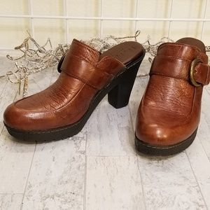B.O.C. Brown Leather Buckle Clog Size 9